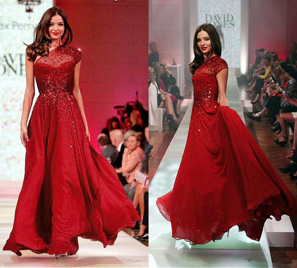 Paolo Sebastian Red Evening Dresses One Shoulder Chiffon Beaded Sequins  Floor Length One Shoulder Plus Size Prom Dress A Line Formal Gowns 1  Evening ...