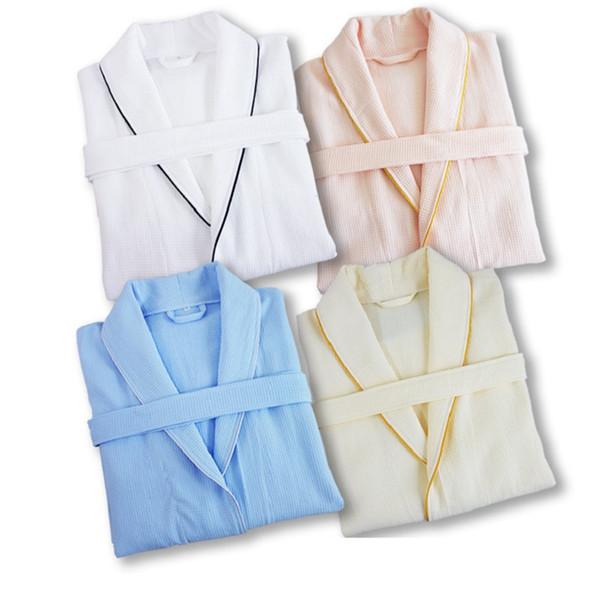 autumn100 mola% puro algodão materiais banho lisos da cor robe unisexo pijamas roupas sauna waffle absorção de água pijamas