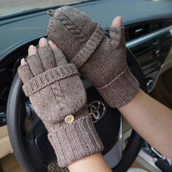 Men Fingerless Gloves Wool Gloves Winter Outdoor Driving Mitten Fashion Male Knitted Thick Warm Flip Half Finger Workout