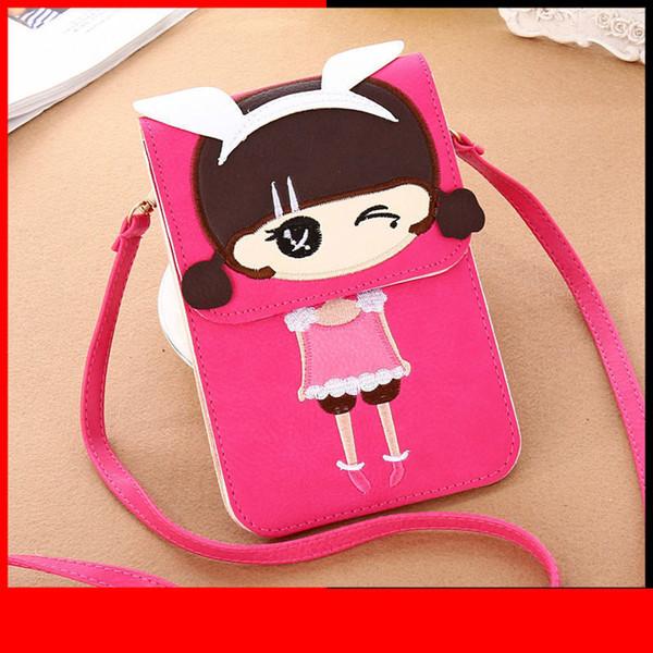 Frauen Taschen Umhängetasche Umhängetasche Dame Tasten Handy Umschlag Messenger Cover Taschen Nette Mädchen Frauen Pu Leder Geldbörse