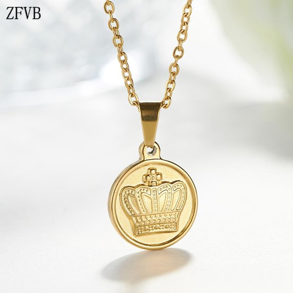 ZFVB 2019 Trendy CROWN Necklace Women Jewelry Stainless Steel Gold color Crown Pendant Necklaces Clavicle chain Birthday Gifts