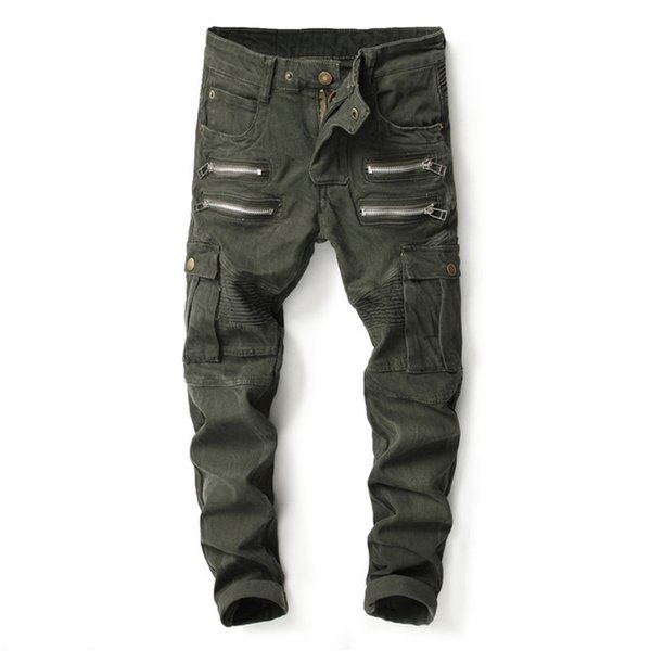 2018 Mens Skinny Ripped Biker Jeans Multi Pockets Cargo Pant Army Green Mens Pleated Pencil Jeans 004#