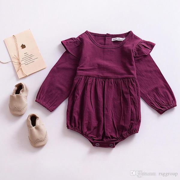 Must-have Long Sleeve Purple Bodysuits Princess Baby Girls Rompers Ruffles Newborn Girls Bodysuits One-piece Lovely Kids Jumpsuits Onesie