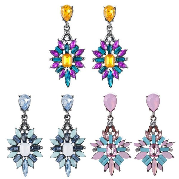 Colorful Crystal Vintage Drop Earrings Water Drop Flower Design Bohemian Jewelry Wedding Jewelry Holiday Souvenir Gifts New