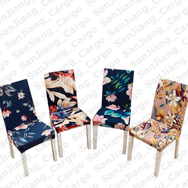 top popular Floral printing Spandex Stretch Elastic Chair Covers For Wedding Dining Room Office Banquet house Decoration Seat Covers E31402 2021