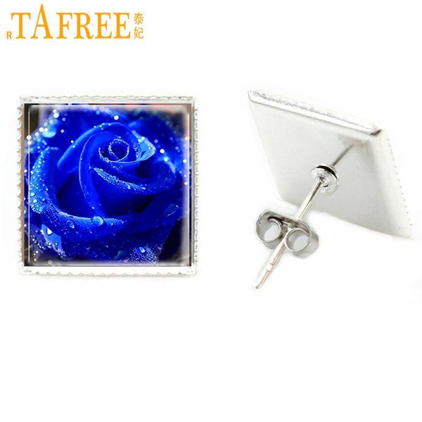 Satın Al Tafree Yeni Bağbozumu çiçek Kare Saplama Küpe Kadınlar Gümüş Kaplama Boyama Mavi Gül Cam Saplama Küpe Jewlery E209 071 Dhgatecomda