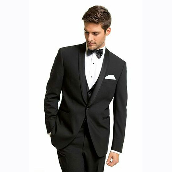 Italian Men Black Suits for Wedding One Buttons Groom Tuxedo Best Man Blazers 3Piece Tailored Made Costume Homme Slim Fit Terno Masculino