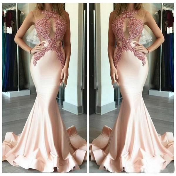 2019 venta caliente sirena rosa vestidos de noche largo delgado satén sexy ilusión joya cuello de encaje apliques blusa con cuentas vestidos de baile