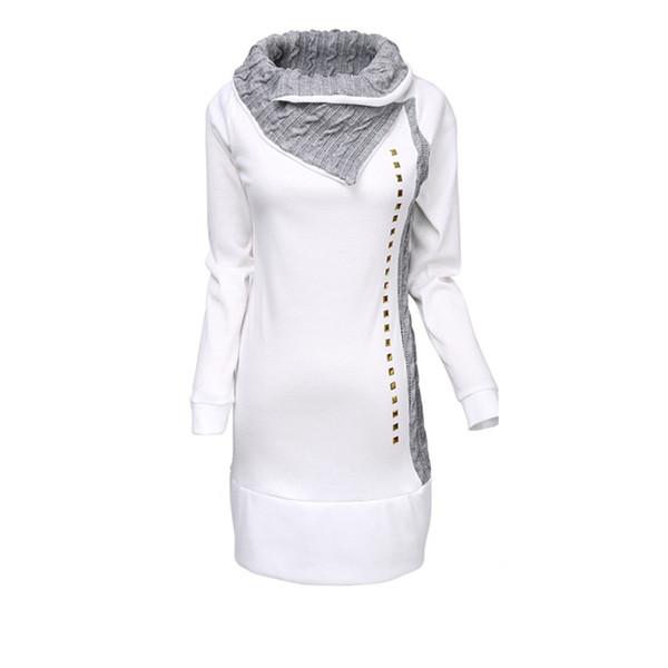 Высокое качество Новый стильный Женщины рубашки воротник отложной женщина леди Rivet Украшенные с длинным рукавом Толстовки Женщины Топы