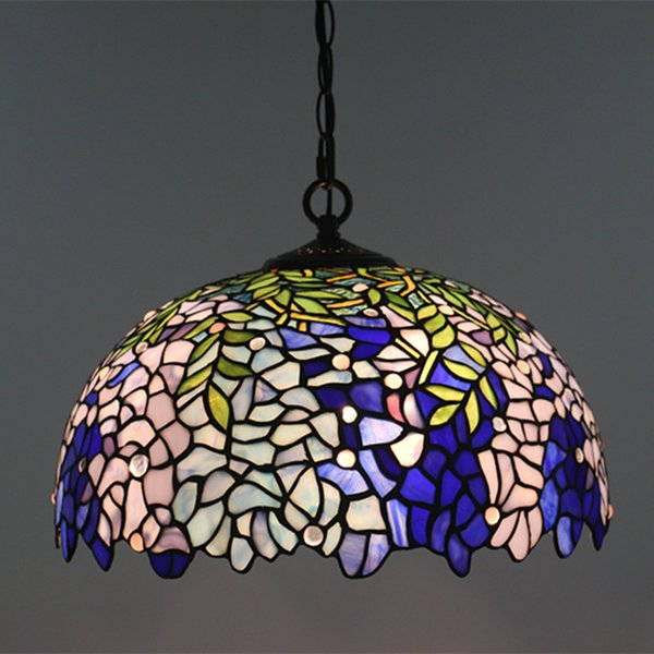 16 Inch Tiffany Wisteria Pendant Lamp European Retro Chandelier Light Fixture Creative Bedroom Studio Restaurant Bar Pendant Light Blue Pendant Lights