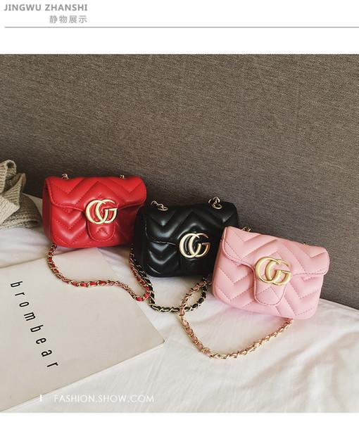 Sacchetto di stile dei bambini della signora ragazze metallo lettera fibbia PU leatter borsa a tracolla bambini catena singola spalla borsa designer ragazze borsa F4528