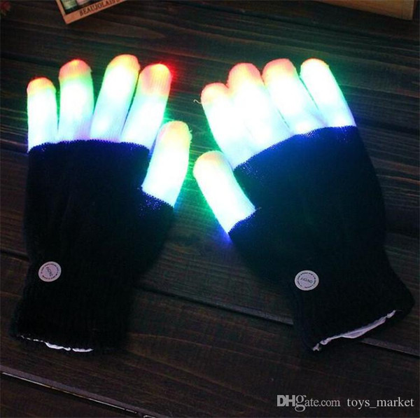 2pcs/pair Party LED Gloves Rave Light Flashing Finger Lighting Glow Mittens Magic Black Gloves Party Accessory