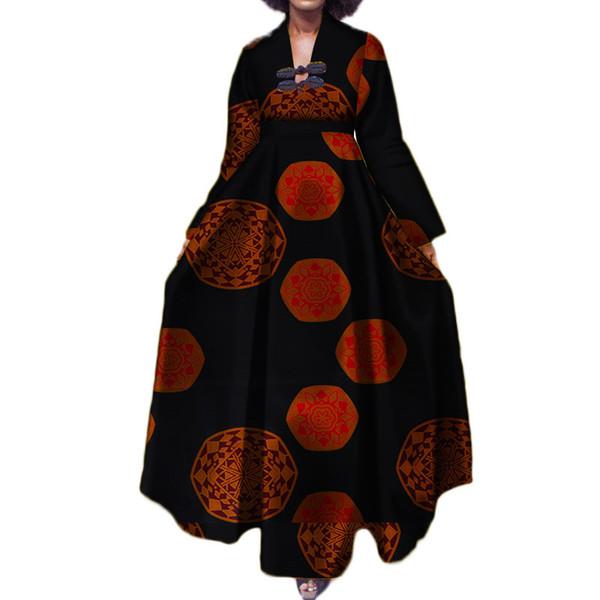 Robes africaines pour femmes 2018, plus la taille, cheville, col en V, Bazin, robe Africaine, décontracté, manches longues, Batik Ropa Dama