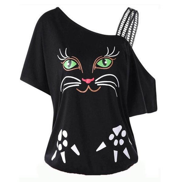 Large Size L-5XL Women Cat Printing Off Shoulder Shirt Short Sleeve Tops Blouse Womens Tops And Blouses #5T
