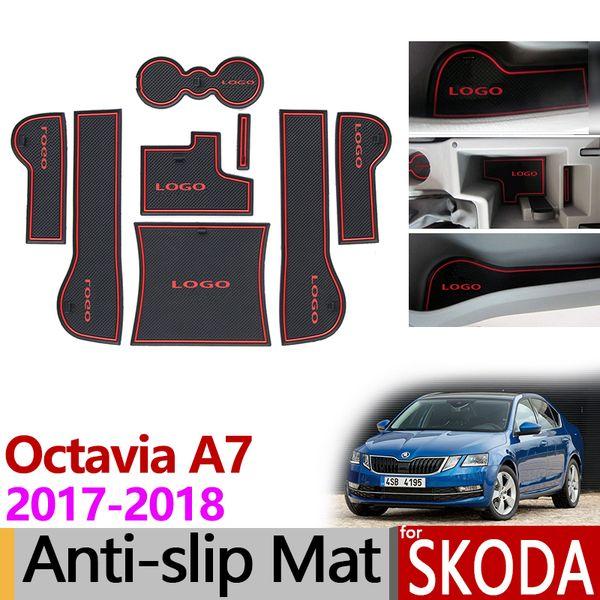 for Skoda Octavia A7 Facelift 2017 2018 Anti-Slip Rubber Mat Cup Cushion Door Groove Mat Accessories Car Styling Stickers MK3 5E