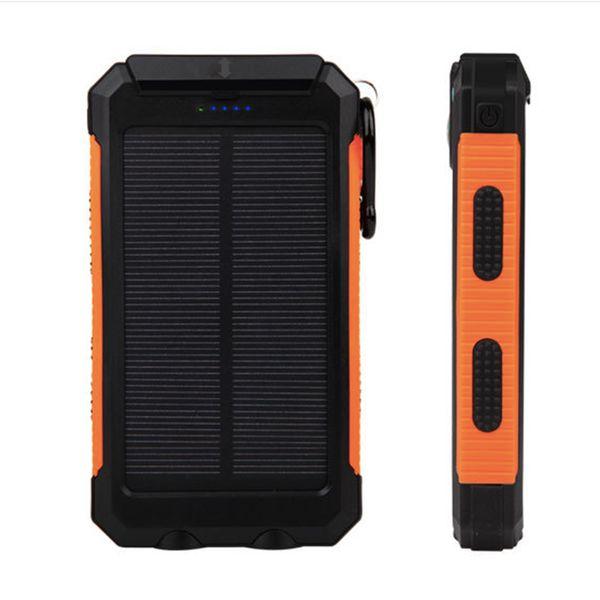 GANSS 10000 mAh Güneş Enerjisi Bankası Su Geçirmez Taşınabilir Harici Pil Güneş PowerBank Şarj ile 2 LED El Feneri Çift USB Akıllı Telefon