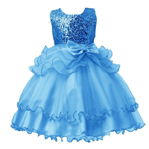 Compre 2019 Nuevo Vestido De Primavera Para Niños Lentejuelas Princesa Arco Boda Niña De Flores Cumpleaños Para Niñas Vestidos 3 4 5 7 9 11 13 Años De