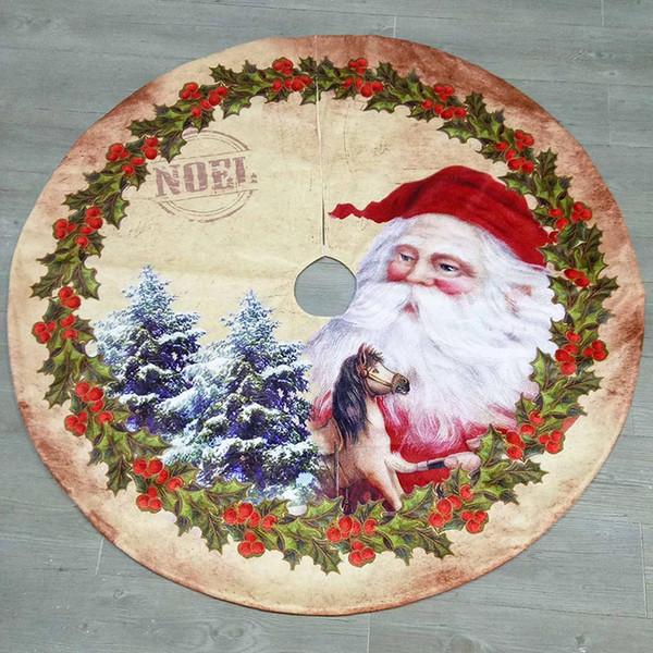 Decoración de la falda del árbol de Chrismas 3 diseños Papá Noel Elk Decoraciones de fondo impresas de Navidad Festival Adornos de fiesta Decoración para el hogar 08