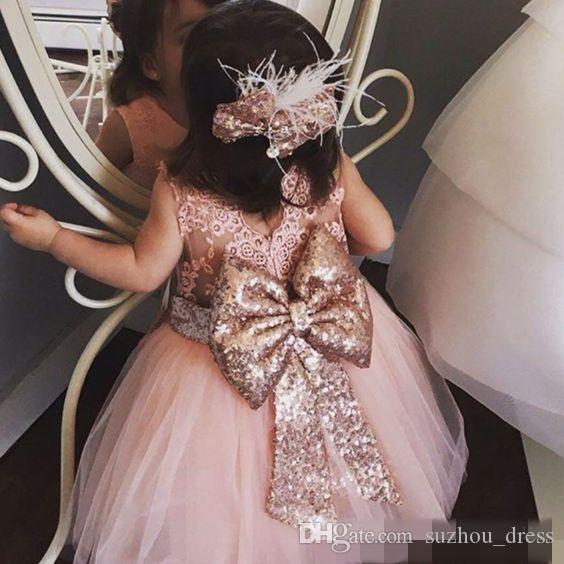 Baby Infant Toddler Birthday Party Dresses Blush Pink Rose Gold Sequins Bow Lace Crew Neck Tea Length Tutu Wedding Flower Girl Dresses