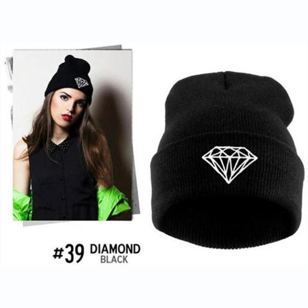Women Winter Hat Knitted Wool Cap Beanies Unisex Casual Pure Black Color Crochet Hip-Hop Skullies Beanie Warm Men Hat Slouchy Holey Warm Cap