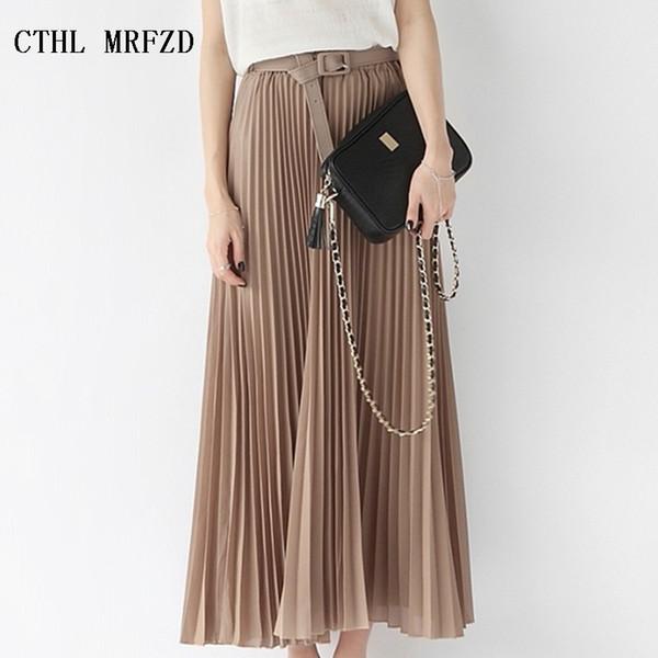 2018 Summer New Fashion Elegant Bohemia Chiffon Pleated Elastic Waist Women Floor-length Long Maxi Tulle Beach Skirt With Belt Y19060301