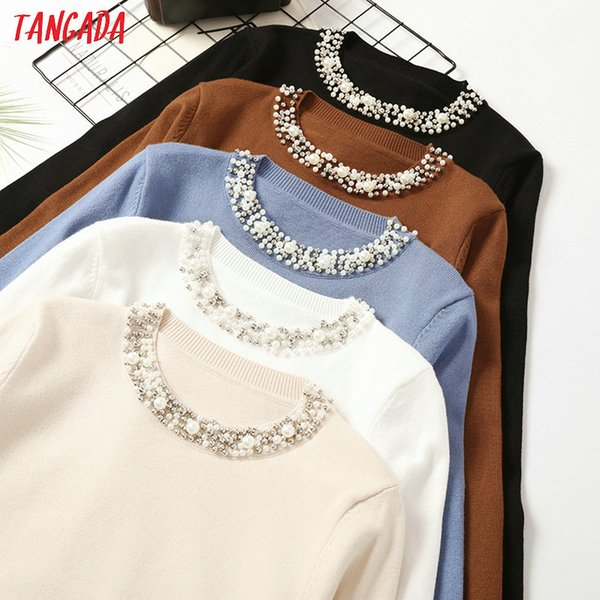 Pullovers Tangada Autumn Winter Women Beaded Neck Sweater 2019 casaco feminino elegant lady sweater Jumper Casual Warm pull femme AQX11