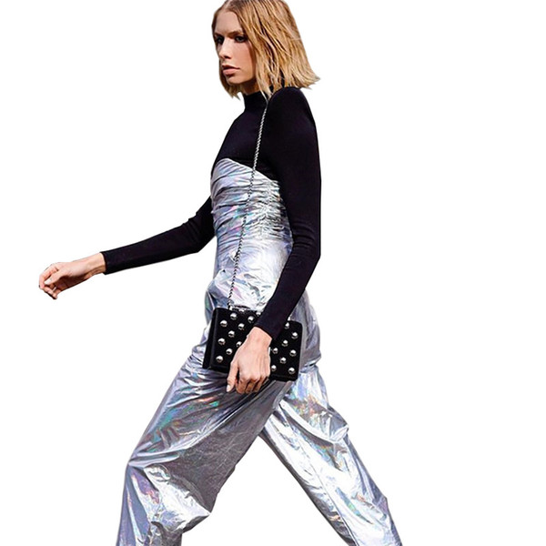 Mode 2019 Bright Silver Rompers Casual Streetwear Sexy Femmes Pantalons Pantalons Mince Enveloppé Poitrine Sans Manches Jumpsuit