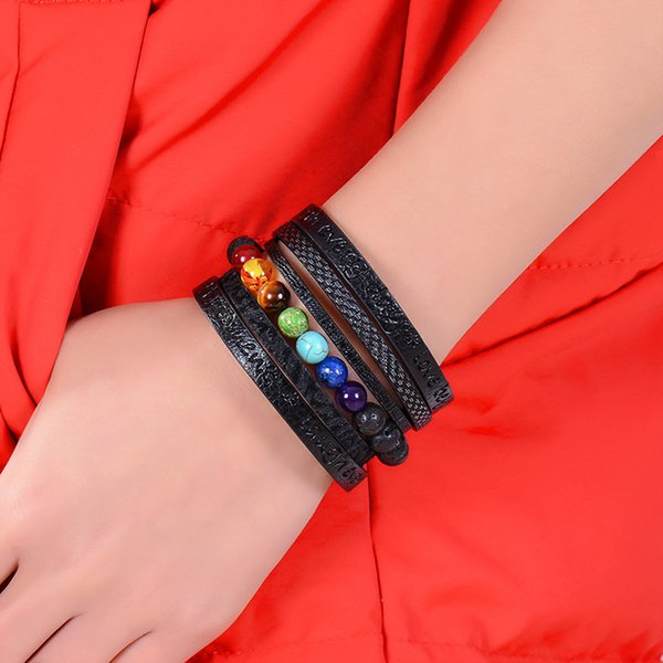 7 Chakra Volcanic Stone Bracelet Essential Oil Diffuser Bracelets Multilayer Black Leather Rope Magnet Buckle Bangle Fashion Jewelry M222F