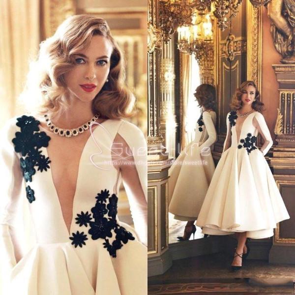 2019 blanc nouvelle manches longues illusion satin mère de la robe de mariée robes de satin une ligne de thé longueur appliques perles robe de soirée