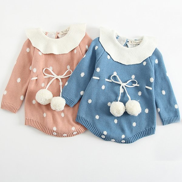 Baby Knitted Clothes Newborn Baby Girls Romper Long Sleeve Infant Jumpsuit For Girls Boys Overalls Clothes Girl Sweet Knitted Y19050602