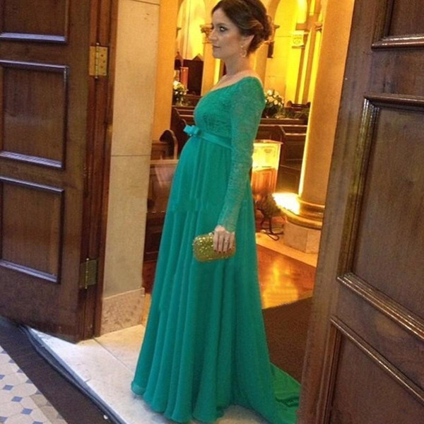Empire Maternity Chiffon Evening Dresses 2019 New Hot Sales Custom Made V-Neck Pregnant Green Lace Long Sleeve Formal Prom Party Gowns E032