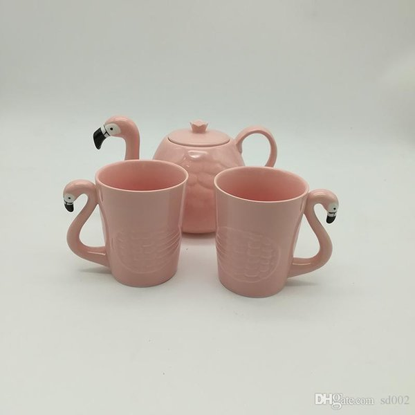 Flamant rose Tasse Costume Céramique tasse d'eau Teapot Coffeware Ensembles Tumbler Bird Head Poigner Coffee Pot Hot Vente 32swb1