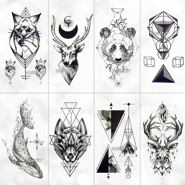 Geometry cool Temporary Tattoo Sticker Women Minimalist lines pattern Body Art New Design Fake Men Tattoos D19011202