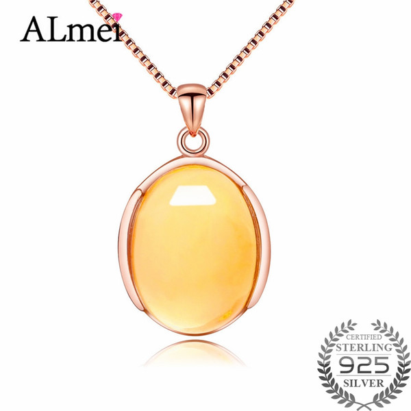 Almei Yellow Citrine 925 Sterling Silver Simple Pendant Necklace OL Style Rose Gold Color Fine Jewelry Collar with Box CN040
