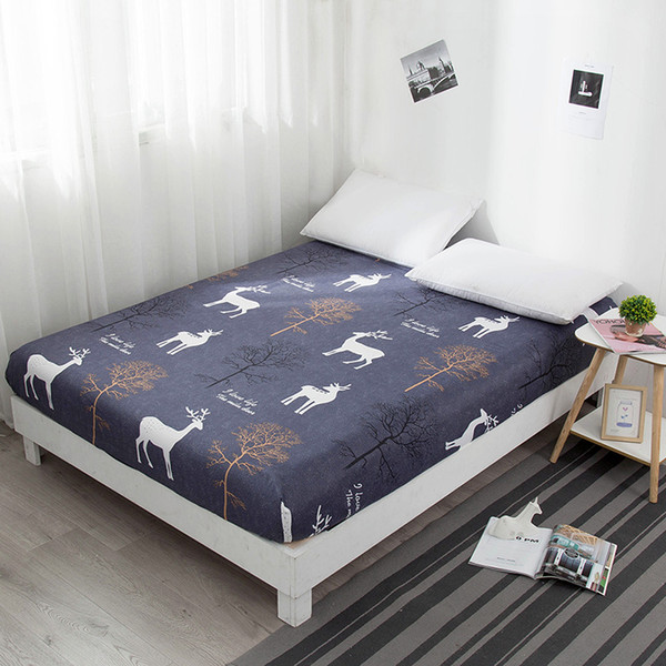 Fitted Bed Sheet Heart Reactive Printed Queen Size Mattress Protector Cover Single Bed Sheet with Elastic for King Bed