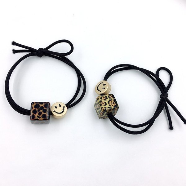 Elastic Cute Girls Bowknot Leopard Square Hair Rope Smile Face Headband Hair Ropes Styling Accessories Braider Tools