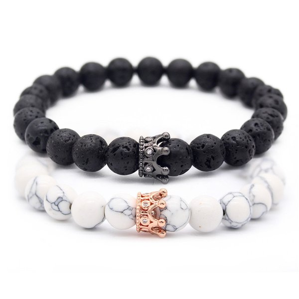 Valentine's Day Gift! His And Hers Jewelry 8mm Stone  Bracelets & Bangles King Queen Couple Bracelet for Lovers MBR180309