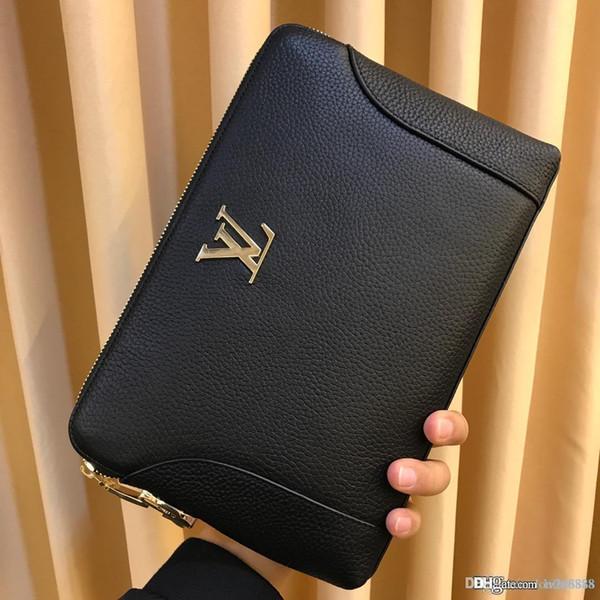 Nueva y lujosa mano de hombre de alta calidad, con monedero de gran capacidad, monedero simple de cuero de color sólido para hombres, número de la cartera del diseñador: 9204.