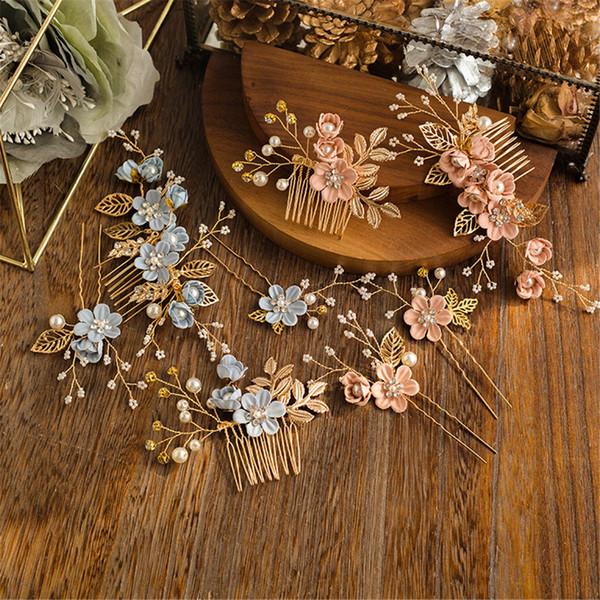 Luxo elegante Roxo Flor De Noiva Pentes de Cabelo Cocar Prom Acessórios Do Cabelo Do Casamento de Ouro Deixa Pérolas de Jóias Pinos