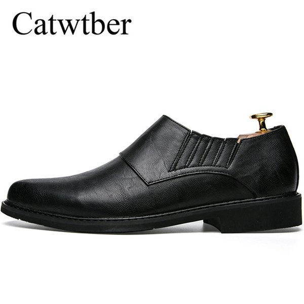 Catwtber New Man Dress Shoes Black Dark Brown Brogues Men Spring Autumn Slip on Classic Shoes for Male Rubber Sole Non Slip Suit