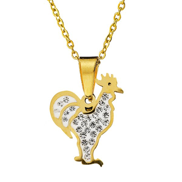 Brand Stainless Steel Chicken Pendant Necklaces Vivid Animal Cock Charm Necklaces Choker For Women Men Chinese Zodiac Jewelry