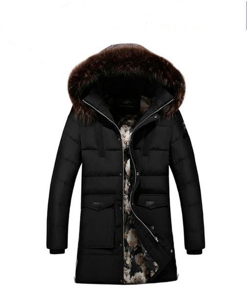 Inter Jackets Parka Men Windbreaker Large Fur Collar Coat Mens Mid-long Thickening Jacket Male Autumn Winter Warm Outwear