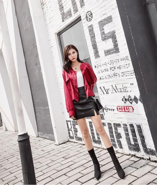 2019 automne et en hiver nouvelles bottes en tricot mode talon épais bottes minces ont indiqué maigres haut bottes talon
