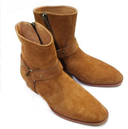 European Design Brand Fashion Leather/Suede Men Mid-calf Boots Western Cowboy Boots Round Toe Buckle Strap/Chains Zipper Men Casual Shoes