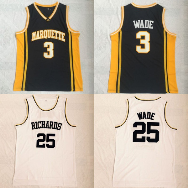 Dwyane Wade Mens Marquette Golden Eagles College Basketball Jerseys Richards High School #25 Dwyane Wade White Stitched Jersey