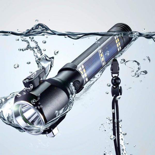 best selling Mini Solar Light Safety Hammer Flashlight Multi-functional Lamp Torch Car Emergency Equipment with USB Solar Portable Light