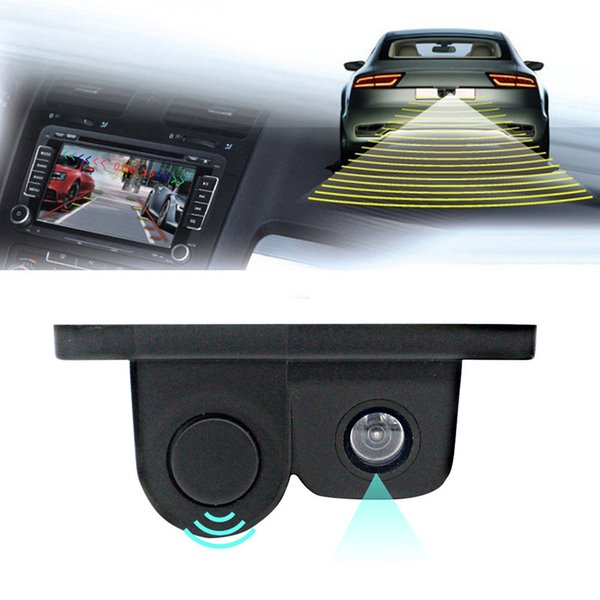 2 en 1 Parking Capteur automatique Alarme sonore voiture inversée sauvegarde vidéo HD Grand Angle voiture Caméra de recul Vue arrière