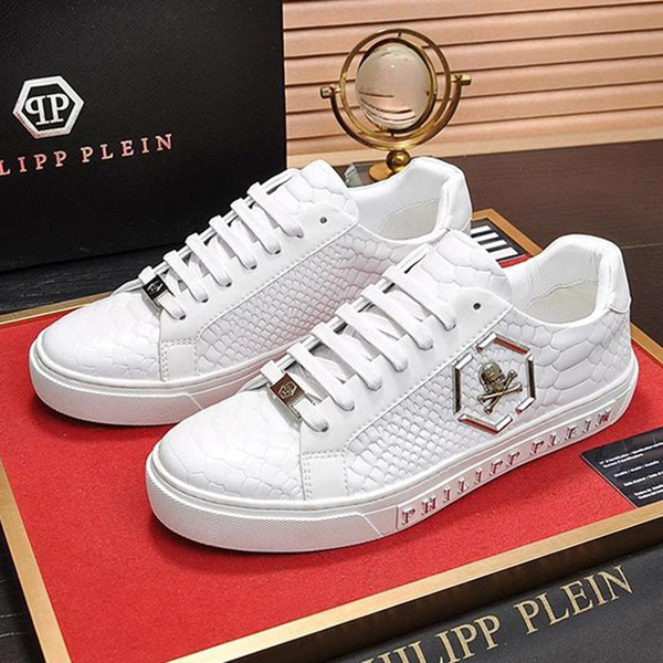 2019 PhilippPleinPPDesigner Fashion Shoes For Men Outdoor Sneakers Trainers With Original Box Chaussures Pour Hommes Lo Top Sneake From