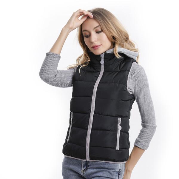 Женщины Зимняя теплая куртка с капюшоном Дамы рукавов сращивания Ultralight Жилет Женский Тонкий Жилет ветрозащитный женщин жилет
