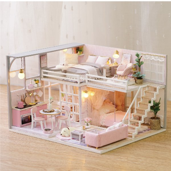Diy Doll House Miniature Dollhouse Kit Pink Girl Apartment Mini Wooden Model House Puzzle Toys for Children Girl valentine
